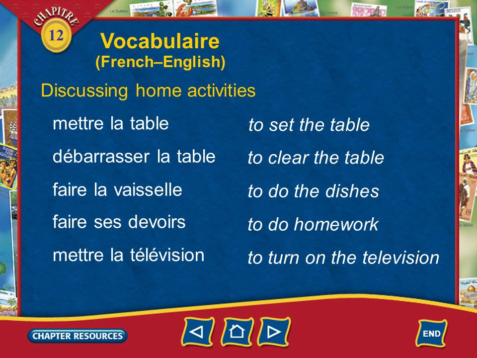 Vocabulaire Discussing home activities mettre la table
