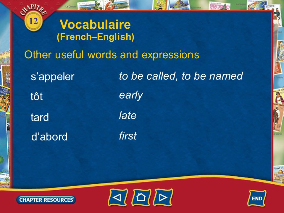 Vocabulaire Other useful words and expressions s'appeler