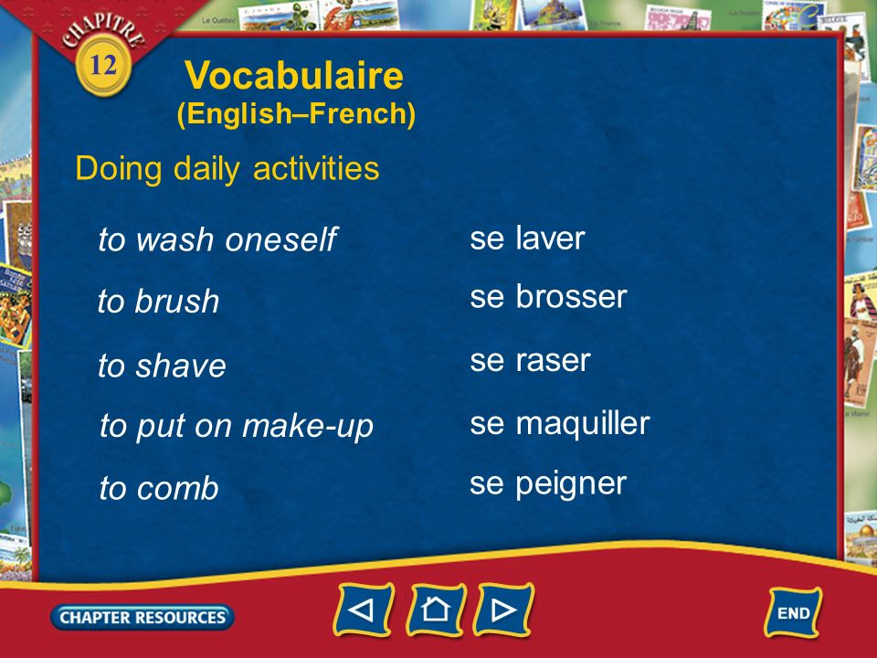 Vocabulaire Doing daily activities to wash oneself se laver se brosser