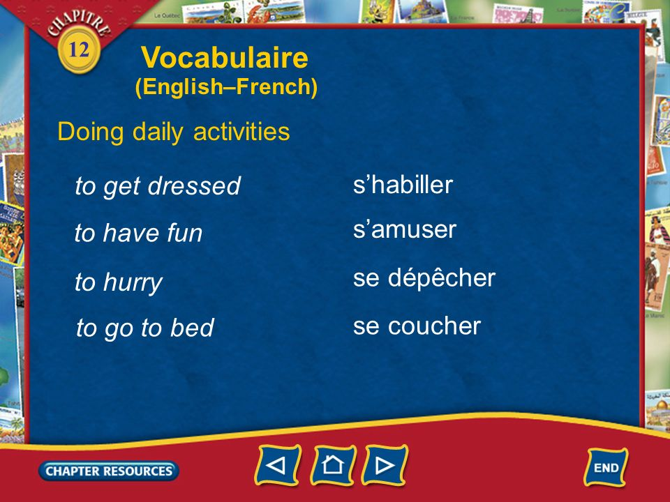 Vocabulaire Doing daily activities to get dressed s'habiller s'amuser