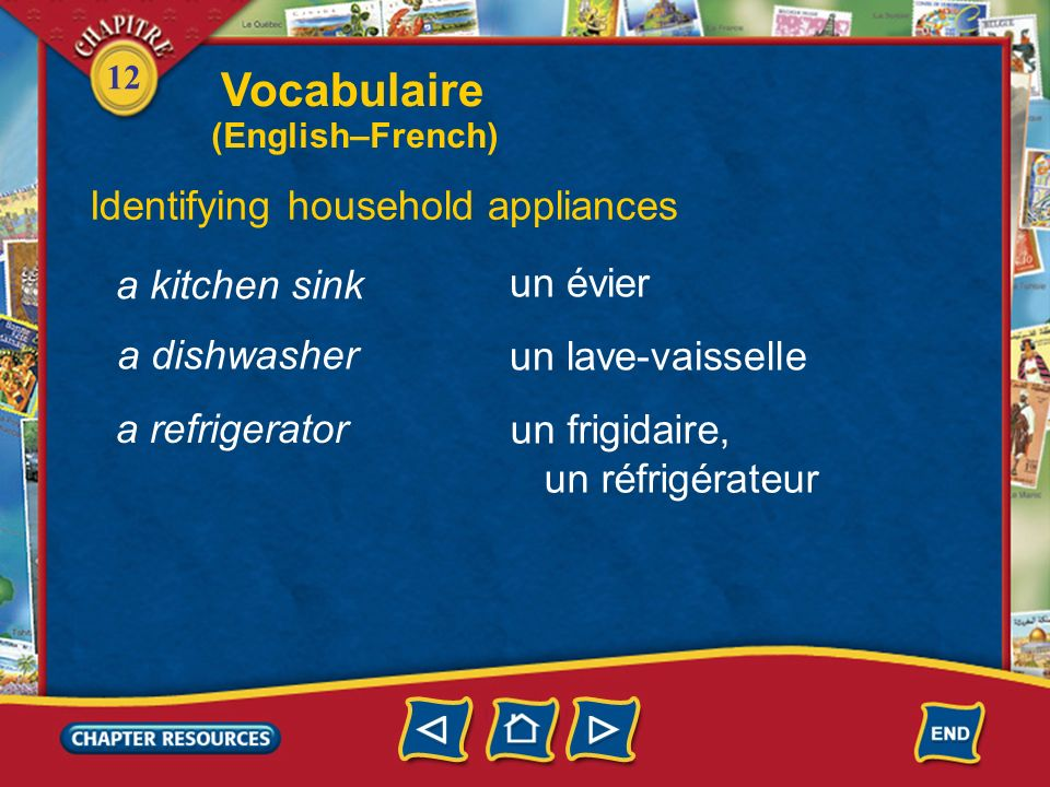 Vocabulaire Identifying household appliances a kitchen sink un évier