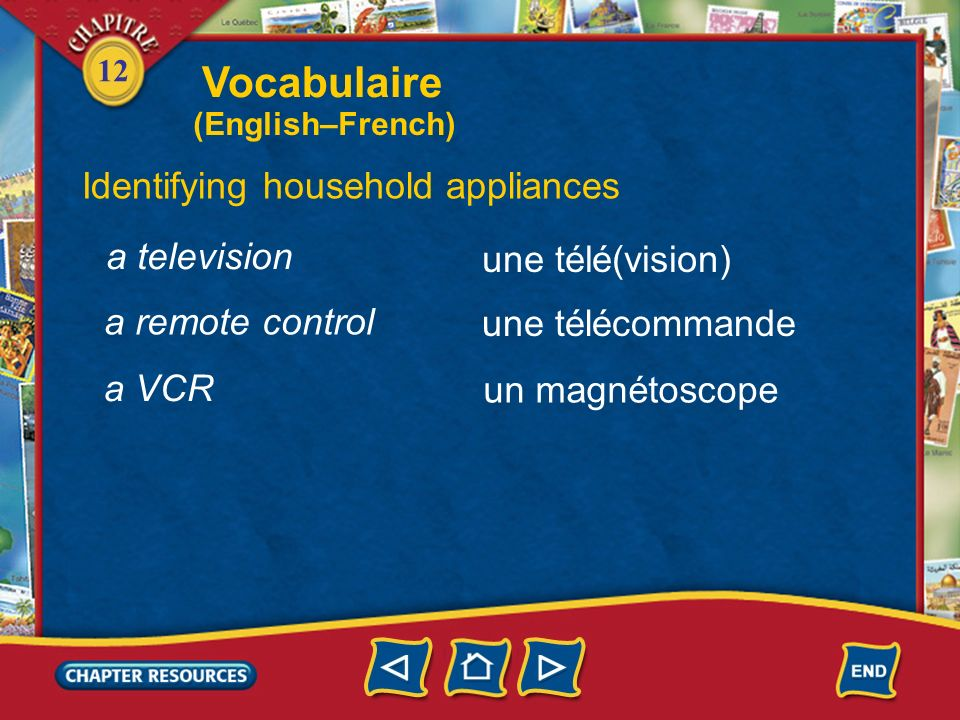 Vocabulaire Identifying household appliances a television
