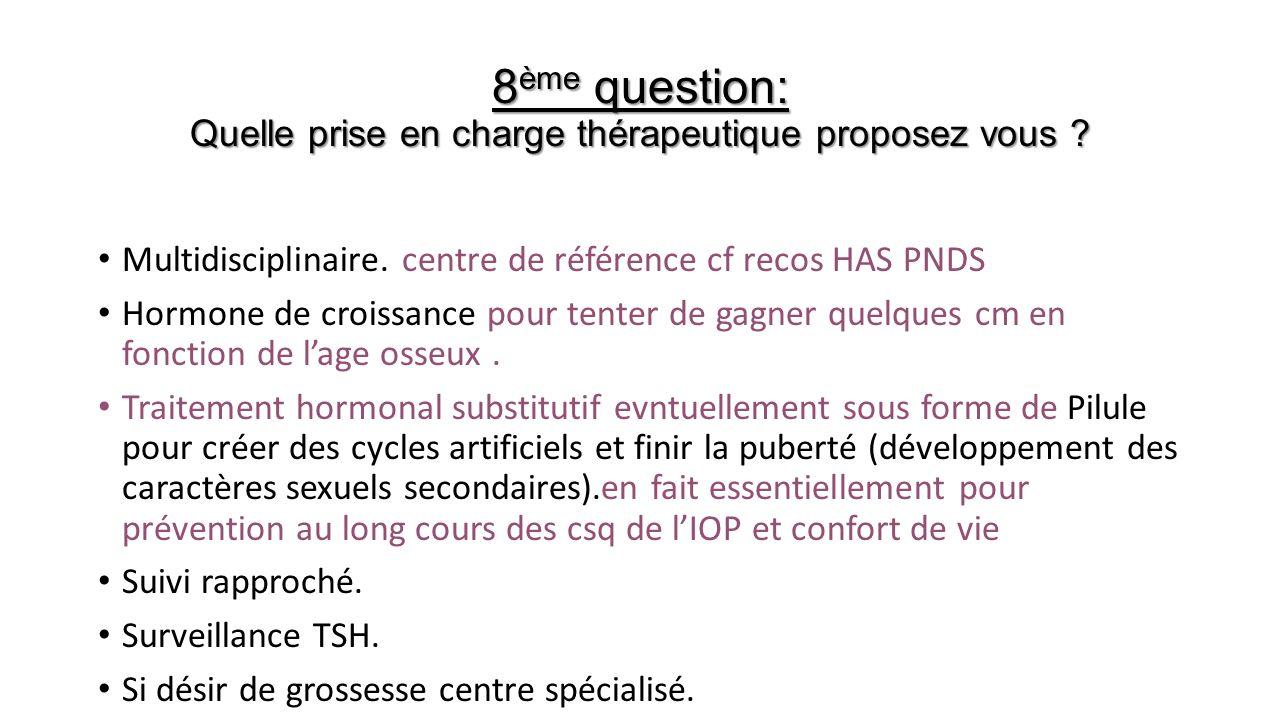8ème question: Quelle prise en charge thérapeutique proposez vous