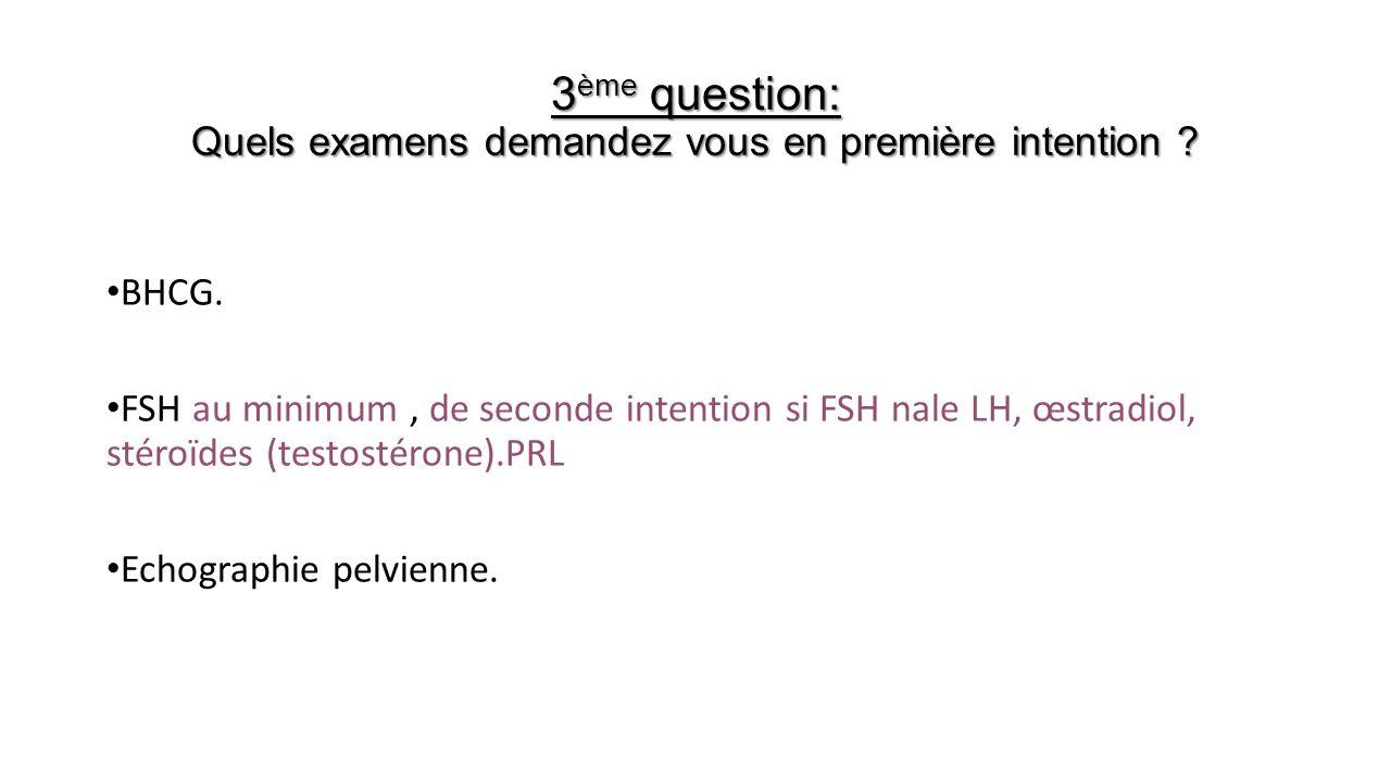 3ème question: Quels examens demandez vous en première intention