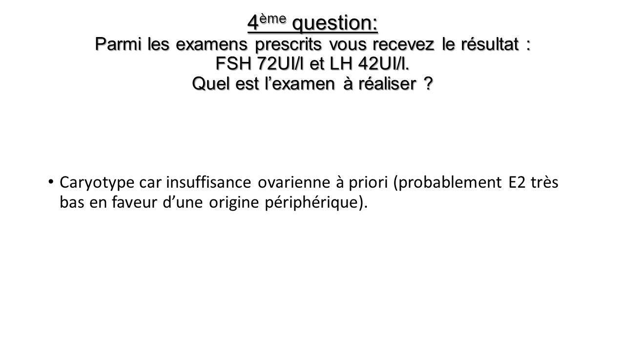 4ème question: Parmi les examens prescrits vous recevez le résultat : FSH 72UI/l et LH 42UI/l. Quel est l'examen à réaliser