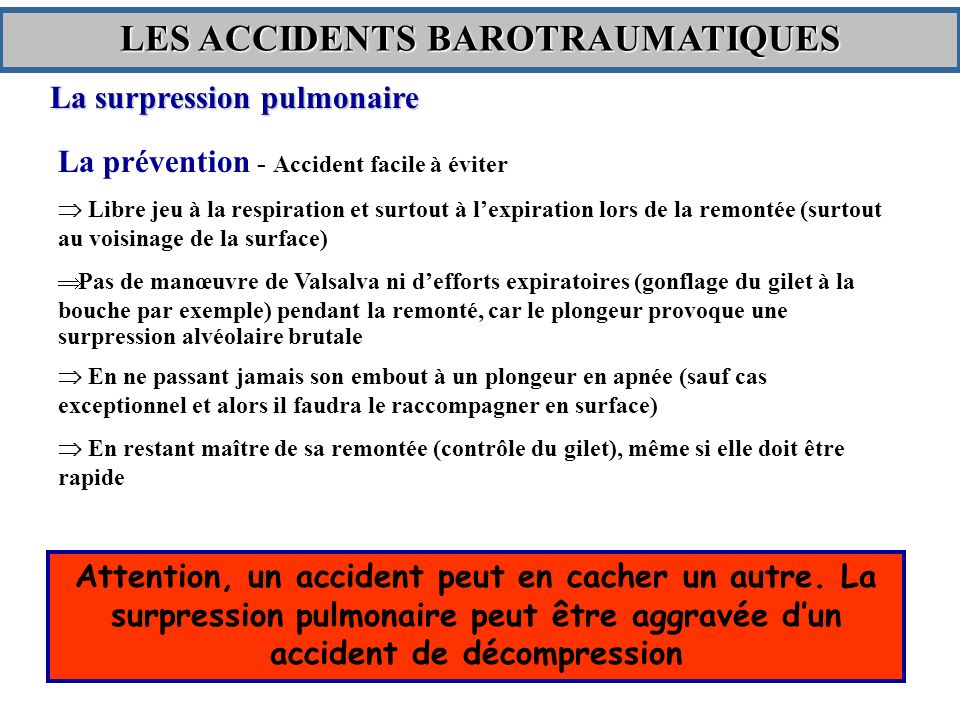 LES ACCIDENTS BAROTRAUMATIQUES
