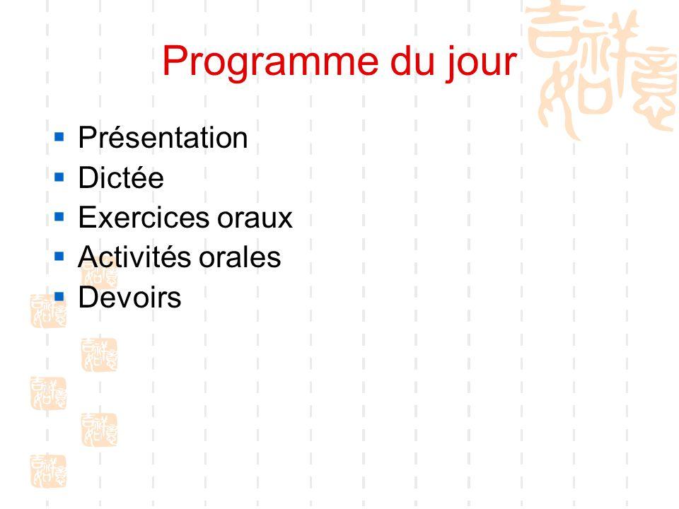 Programme du jour Présentation Dictée Exercices oraux Activités orales