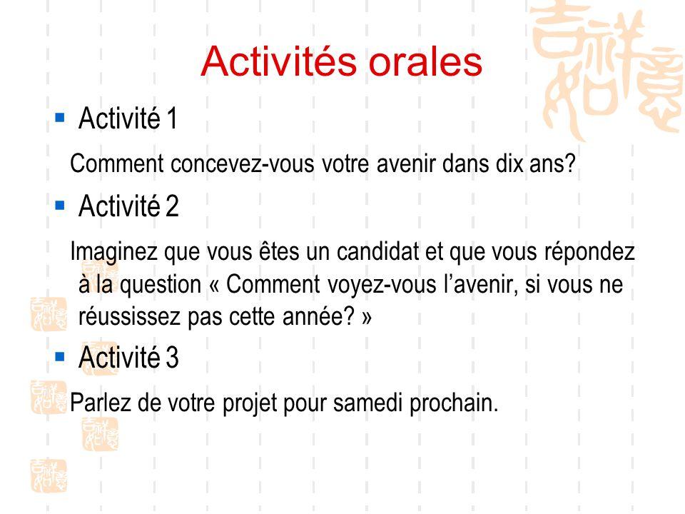 Activités orales Activité 1