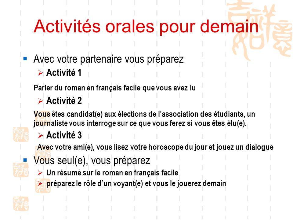 Activités orales pour demain