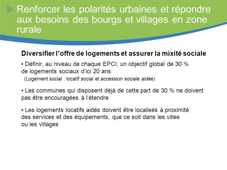 Renforcer les polarités urbaines et répondre aux besoins des bourgs et villages en zone rurale