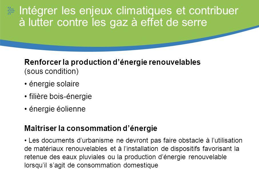Intégrer les enjeux climatiques et contribuer à lutter contre les gaz à effet de serre