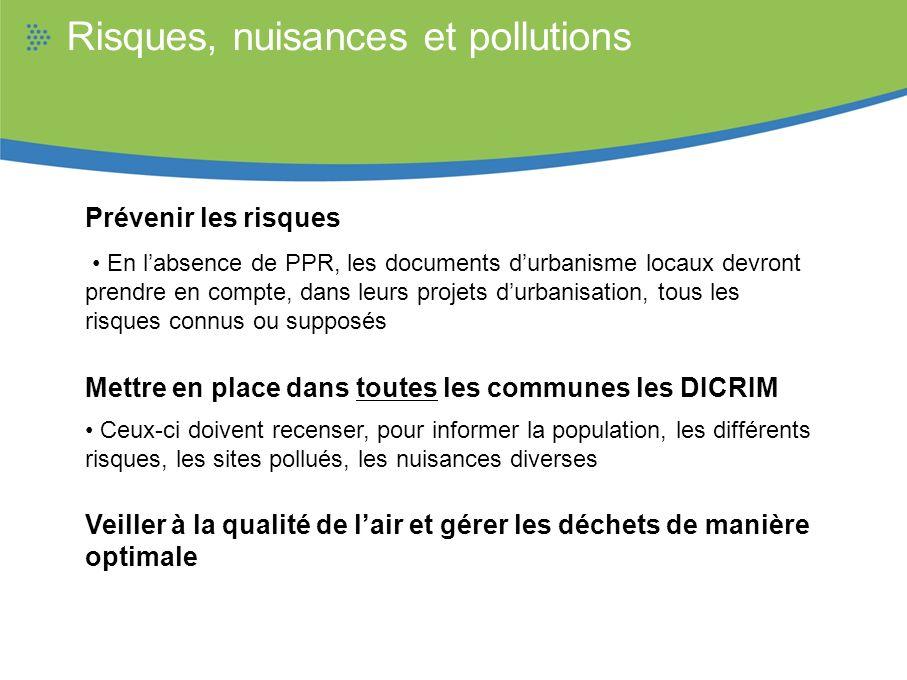 Risques, nuisances et pollutions