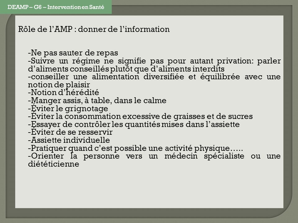 DEAMP – G6 – Intervention en Santé