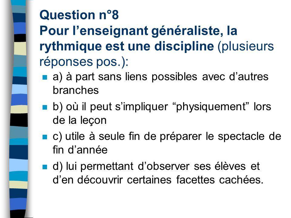 Question n°8 Pour l'enseignant généraliste, la rythmique est une discipline (plusieurs réponses pos.):