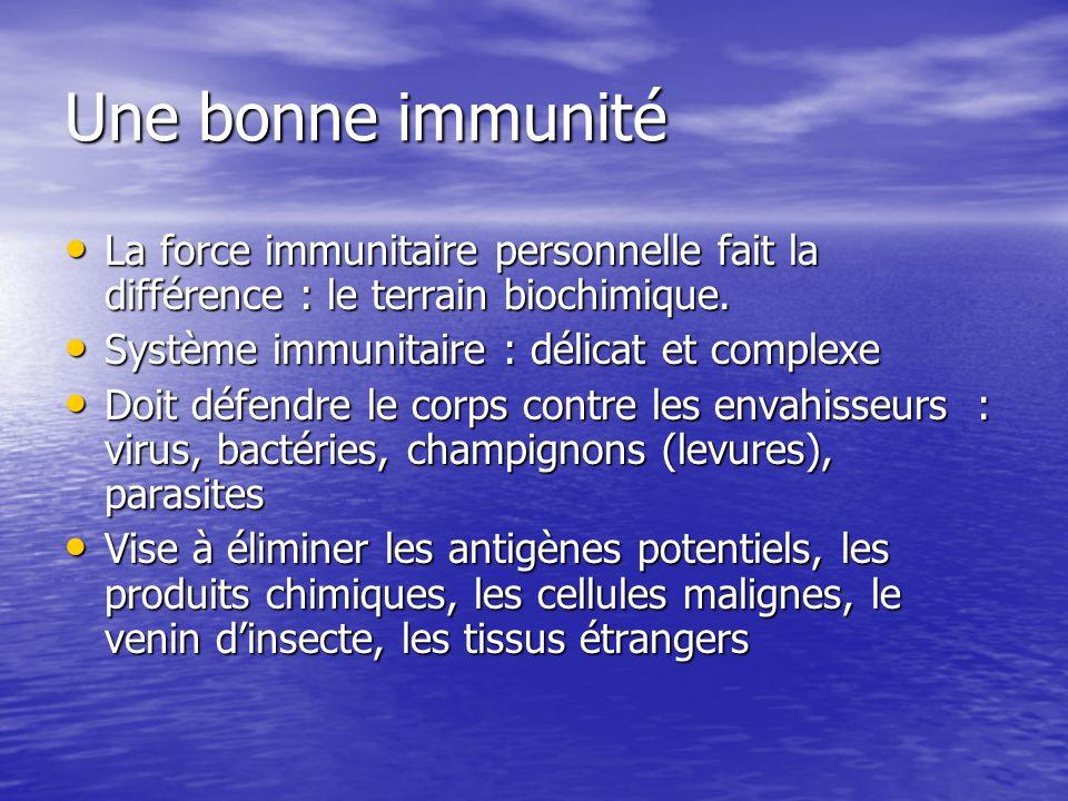 Une bonne immunité La force immunitaire personnelle fait la différence : le terrain biochimique. Système immunitaire : délicat et complexe.