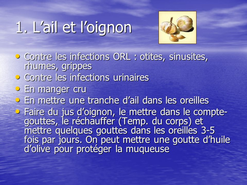 1. L'ail et l'oignon Contre les infections ORL : otites, sinusites, rhumes, grippes. Contre les infections urinaires.