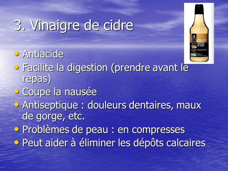 3. Vinaigre de cidre Antiacide