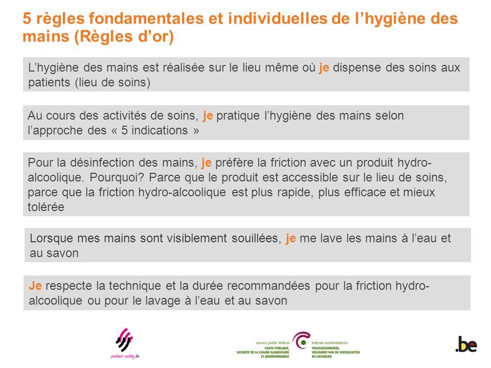 5 règles fondamentales et individuelles de l'hygiène des mains (Règles d'or)