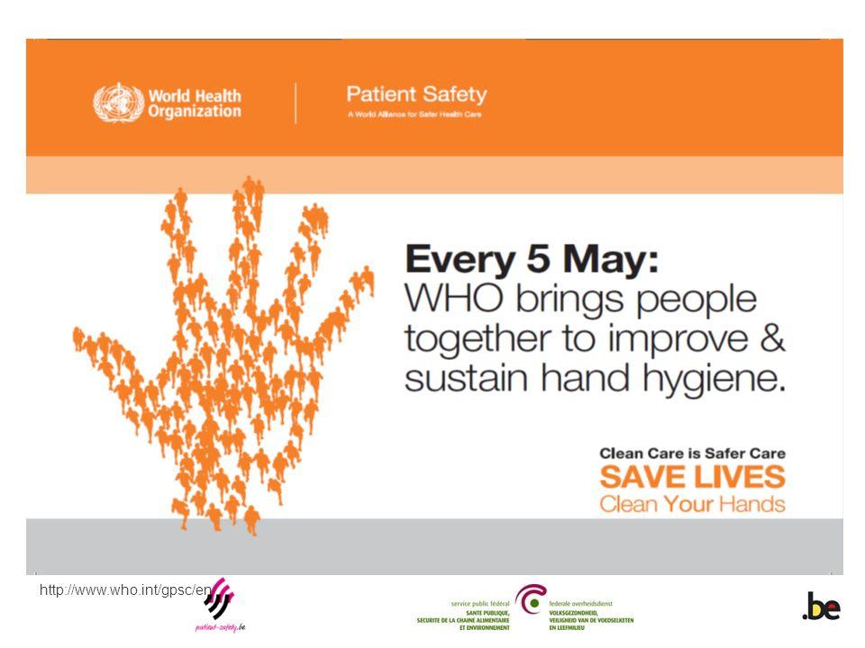 Door op 5/5 een jaarlijkse dag (van 2009 tot 2020) in het teken te plaatsen van de verbetering van handhygiëne in de gezondheidszorg, promoot dit initiatief een continue, aanhoudende, optimale uitvoering van handhygiëne op het zorgpunt in alle gezondheidszorgvoorzieningen, over heel de wereld