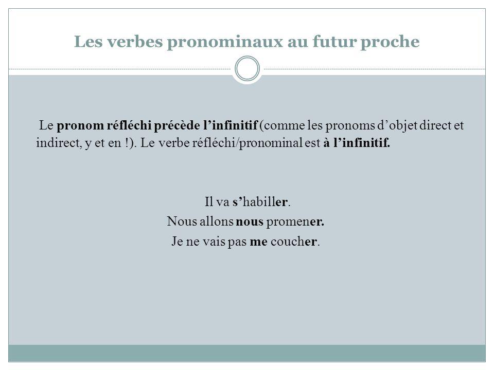 Les verbes pronominaux au futur proche