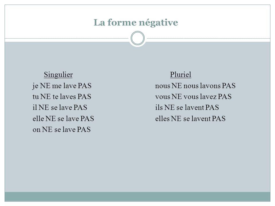 La forme négative Singulier Pluriel