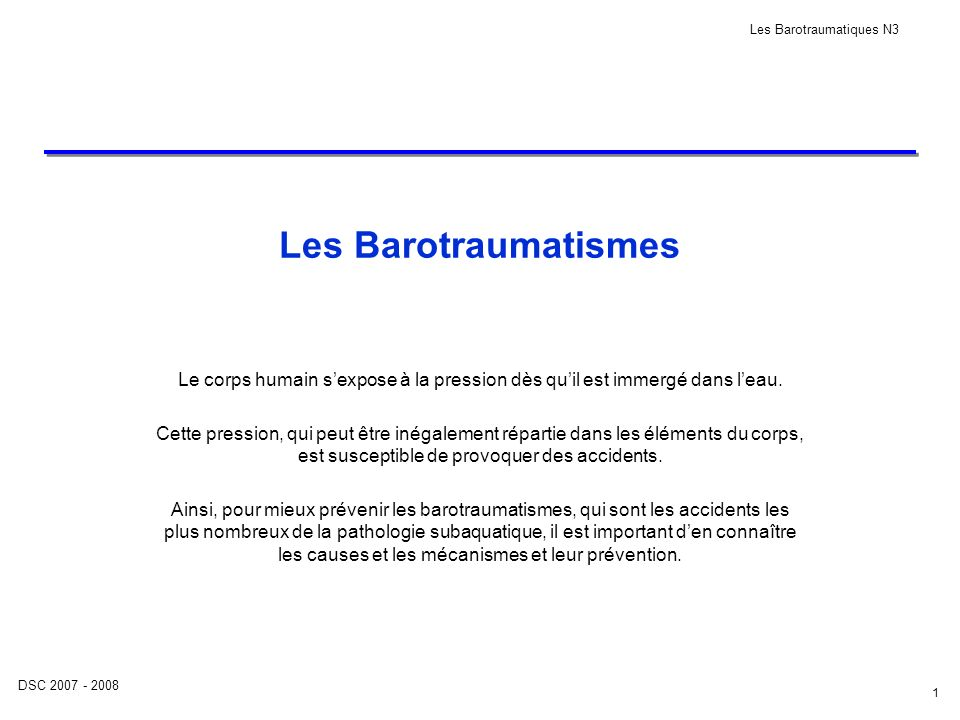 Les Barotraumatiques N3