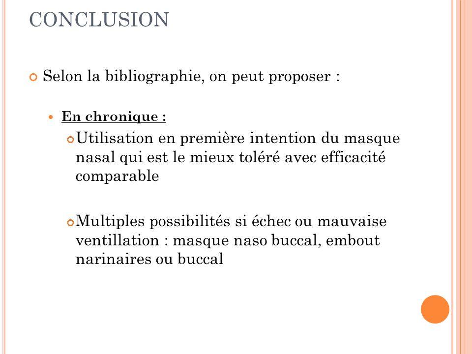 CONCLUSION Selon la bibliographie, on peut proposer :