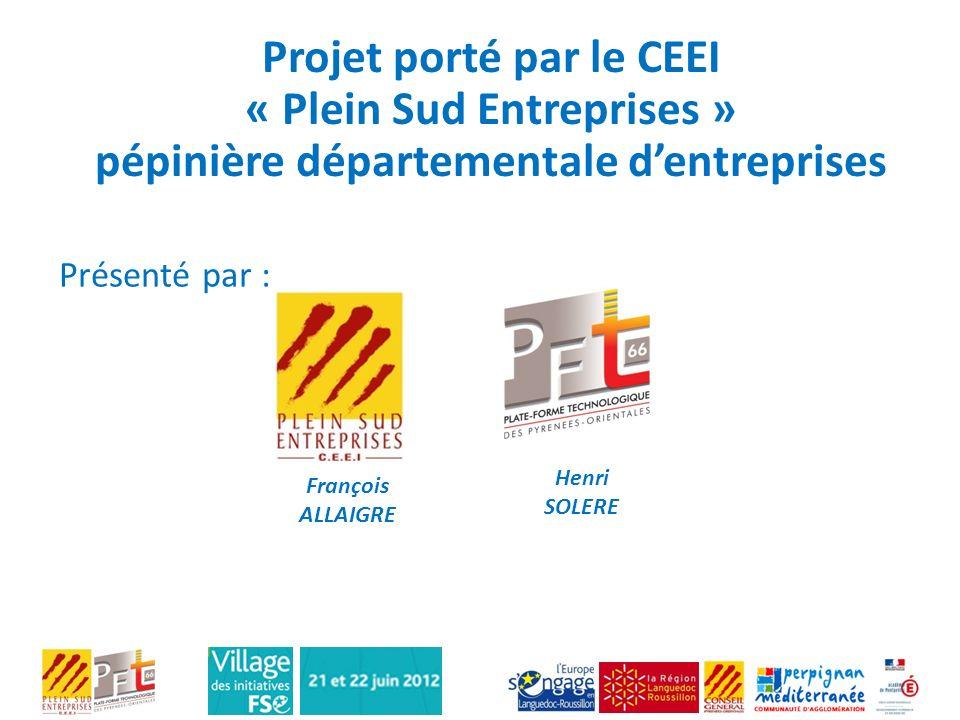 Projet porté par le CEEI « Plein Sud Entreprises » pépinière départementale d'entreprises