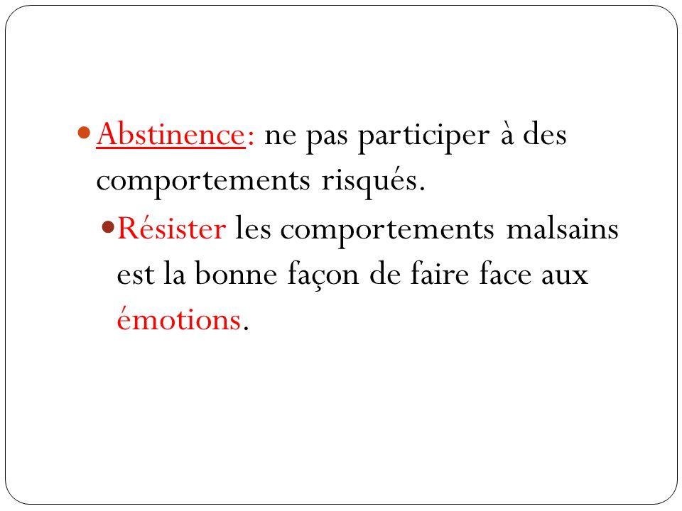 Abstinence: ne pas participer à des comportements risqués.