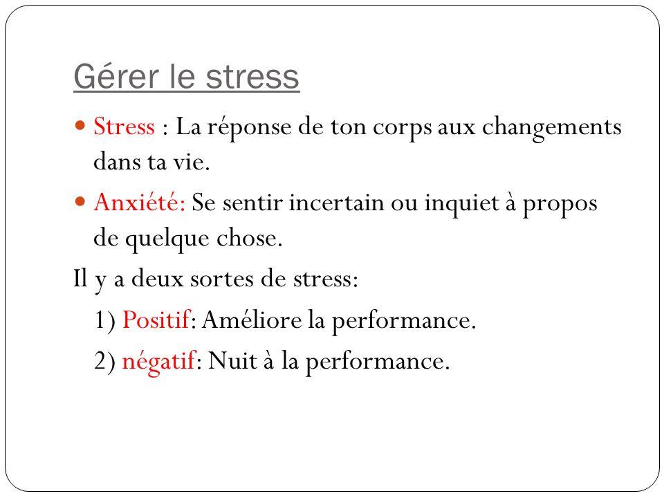 Gérer le stress Stress : La réponse de ton corps aux changements dans ta vie. Anxiété: Se sentir incertain ou inquiet à propos de quelque chose.