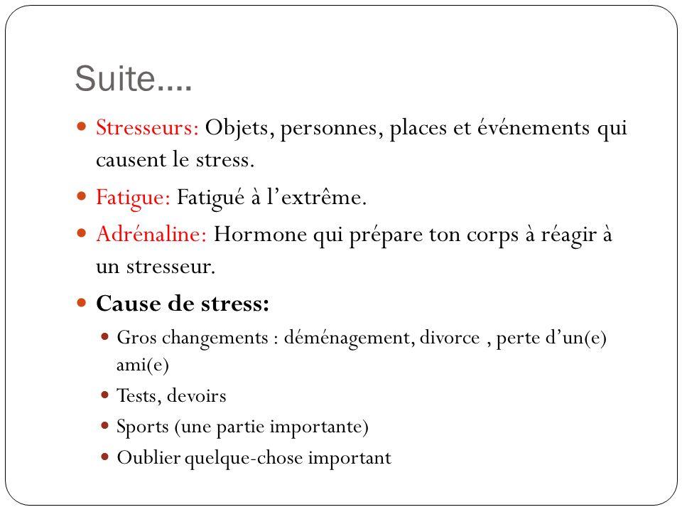 Suite…. Stresseurs: Objets, personnes, places et événements qui causent le stress. Fatigue: Fatigué à l'extrême.
