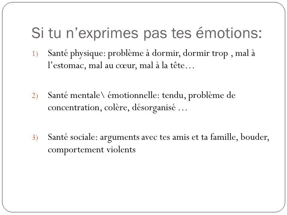 Si tu n'exprimes pas tes émotions:
