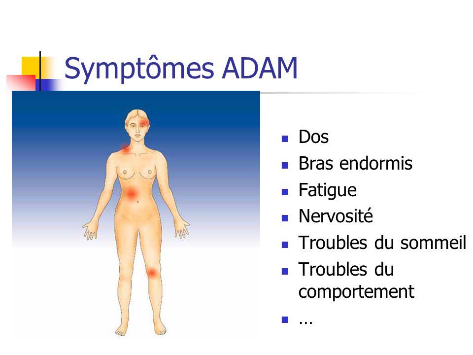 Symptômes ADAM Dos Bras endormis Fatigue Nervosité Troubles du sommeil