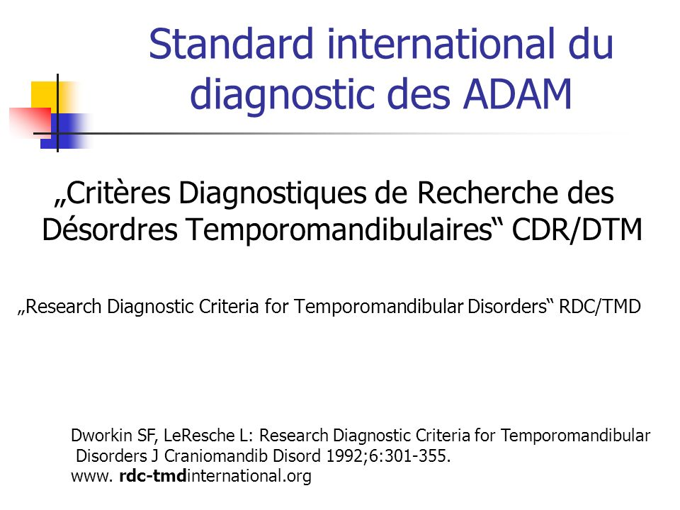 Standard international du diagnostic des ADAM