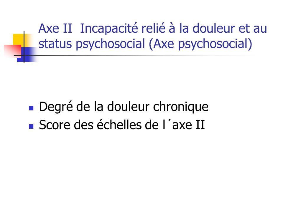 Axe II Incapacité relié à la douleur et au status psychosocial (Axe psychosocial)