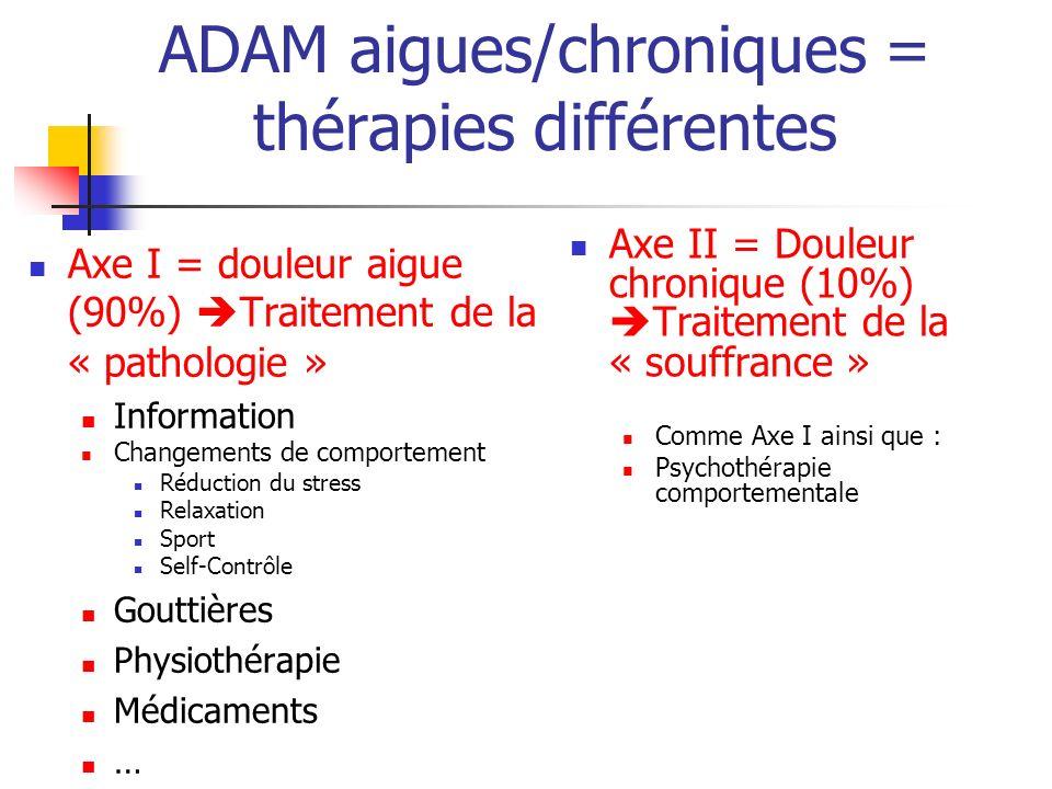 ADAM aigues/chroniques = thérapies différentes