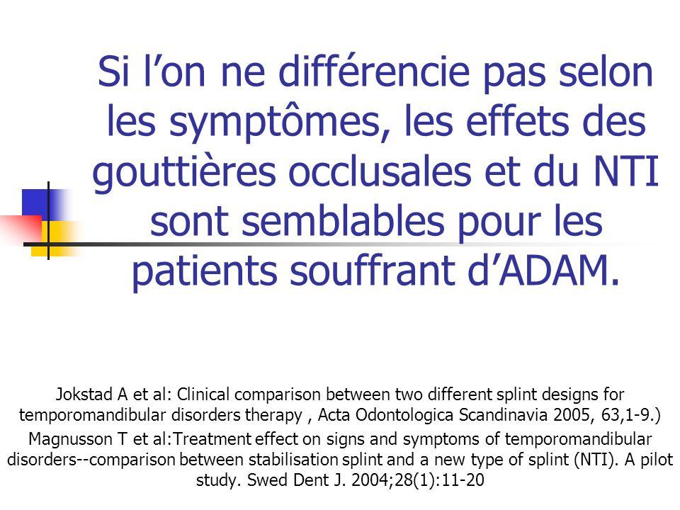 Si l'on ne différencie pas selon les symptômes, les effets des gouttières occlusales et du NTI sont semblables pour les patients souffrant d'ADAM.