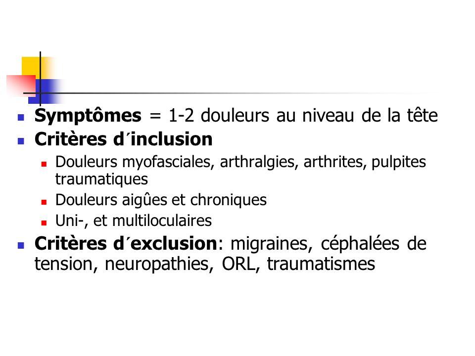 Symptômes = 1-2 douleurs au niveau de la tête Critères d´inclusion