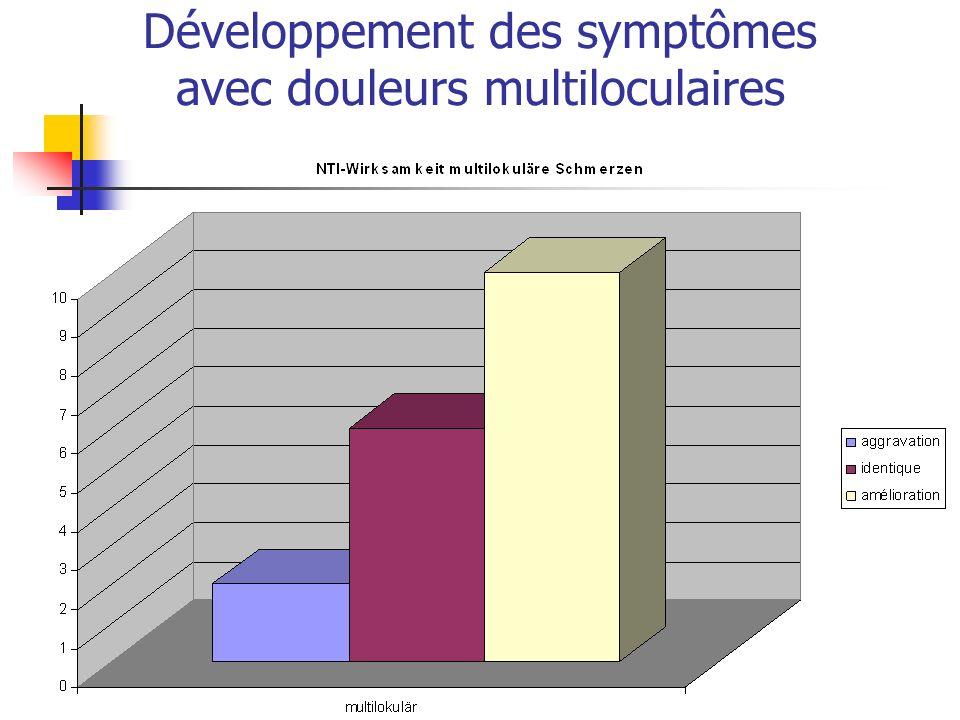 Développement des symptômes avec douleurs multiloculaires