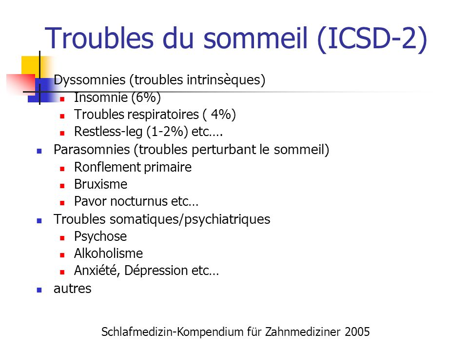Troubles du sommeil (ICSD-2)