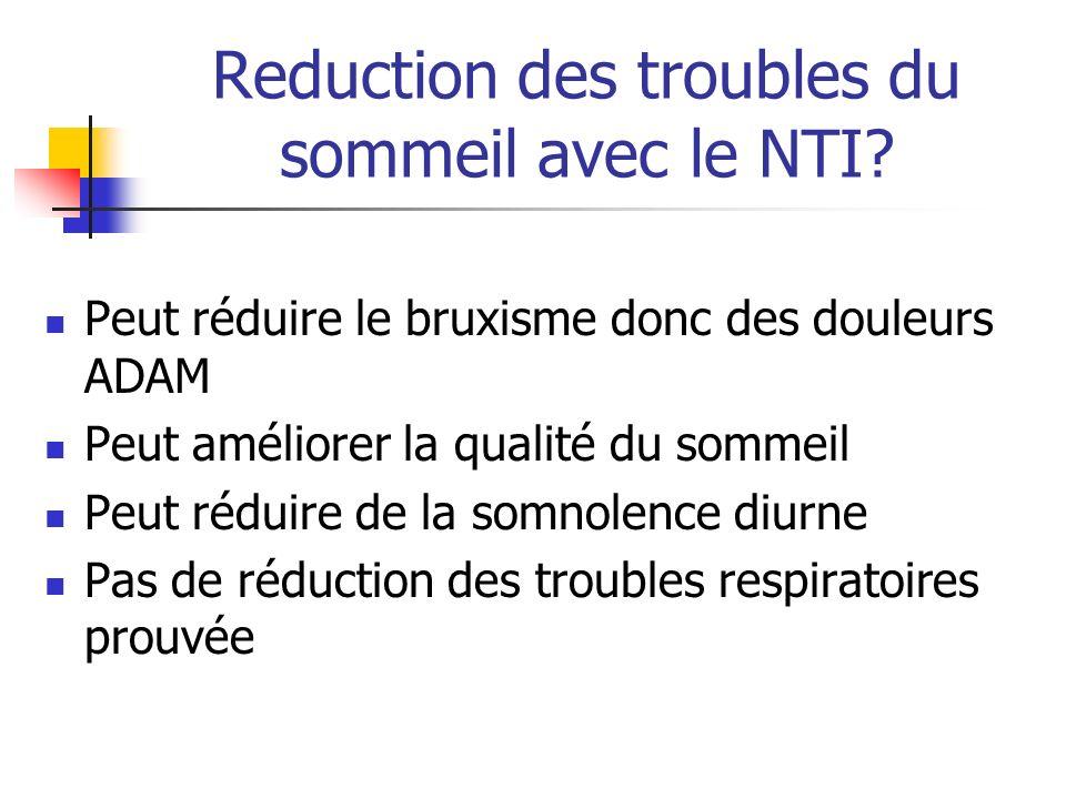Reduction des troubles du sommeil avec le NTI