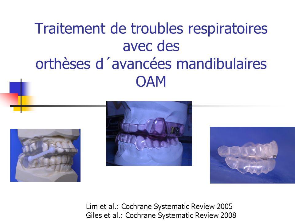 Traitement de troubles respiratoires avec des orthèses d´avancées mandibulaires OAM