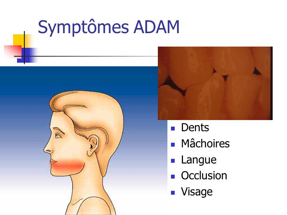 Symptômes ADAM Dents Mâchoires Langue Occlusion Visage