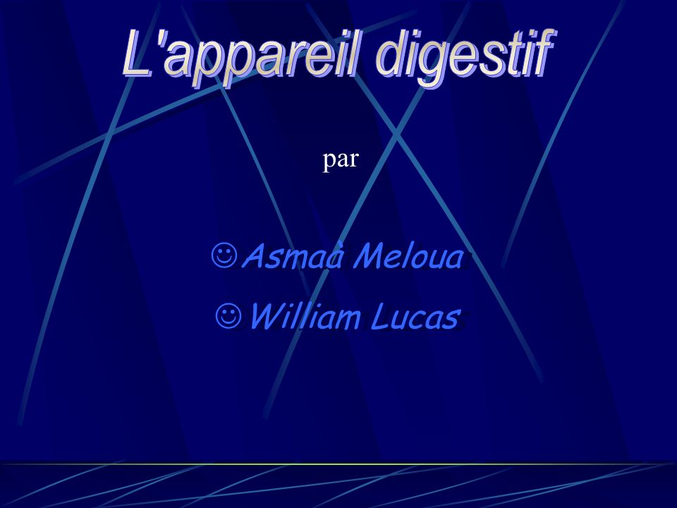 L appareil digestif par Asmaà Meloua William Lucas