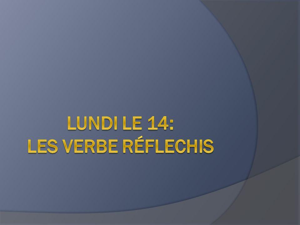 Lundi le 14: les verbe réflechis