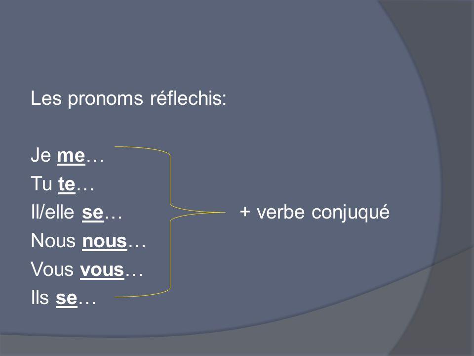 Les pronoms réflechis: Je me… Tu te… Il/elle se… + verbe conjuqué Nous nous… Vous vous… Ils se…