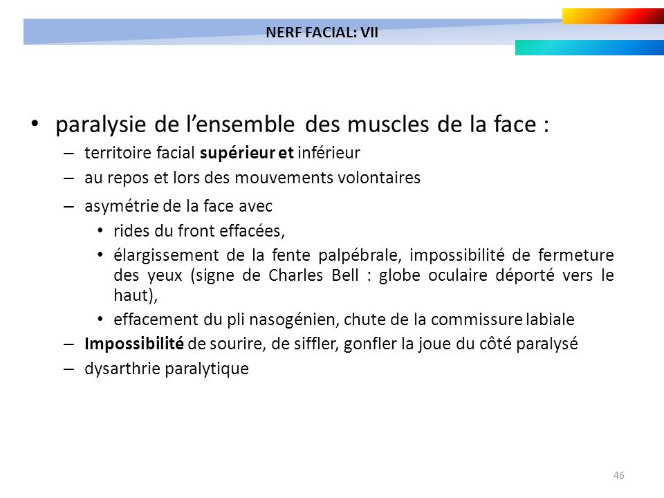 paralysie de l'ensemble des muscles de la face :