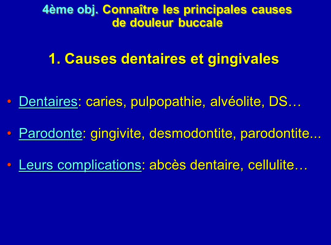1. Causes dentaires et gingivales