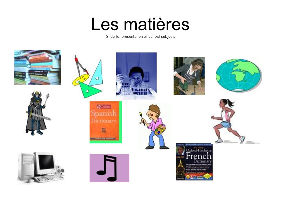 Les matières Slide for presentation of school subjects