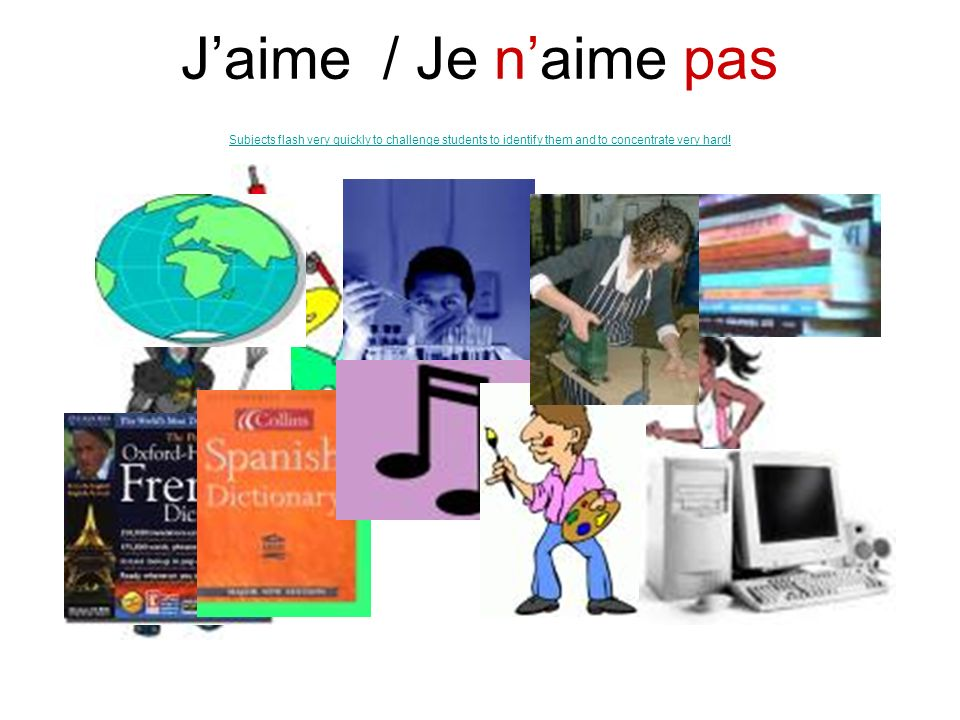 J'aime / Je n'aime pas Subjects flash very quickly to challenge students to identify them and to concentrate very hard!